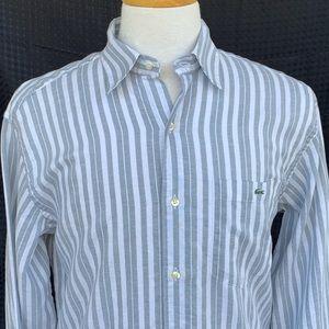 Lacoste Linen Blend Striped L/S Shirt. Size 42/L